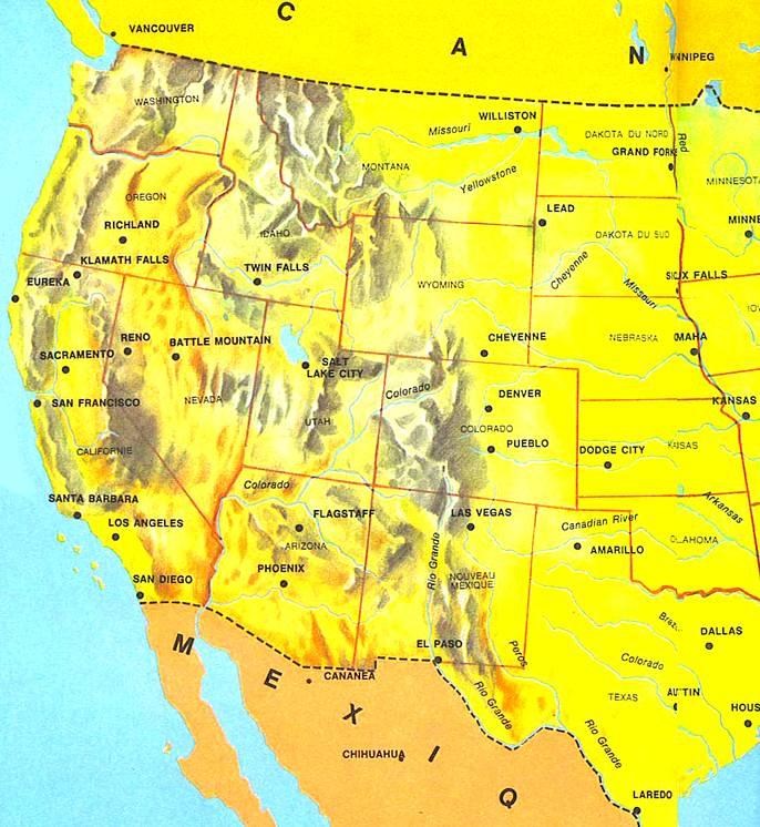 Carte Etats Unis Ouest.Les Etats Des Etats Unis Ouest